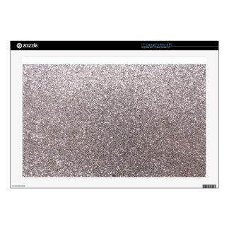 """Silver glitter 17"""" laptop skin"""