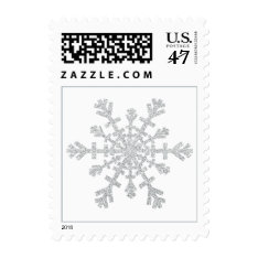 Silver Glitter Snowflake for Christmas on White Postage at Zazzle