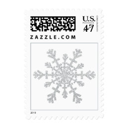 Silver Glitter Snowflake for Christmas on White Postage
