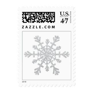 Silver Glitter Snowflake for Christmas on White Postage