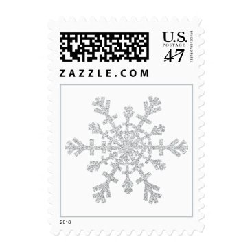 Christmas Themed Silver Glitter Snowflake for Christmas on White Postage