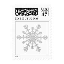 Silver Glitter Snowflake for Christmas on White Postage Stamp