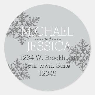 Silver Glitter Snowflake Personalized address Classic Round Sticker