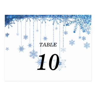 silver glitter snowflake Table Number Postcard