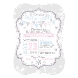Silver Glitter Snowflake Twins Baby Shower Card