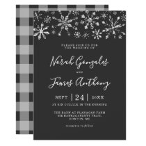 Silver Glitter Snowflake Winter Wonderland Wedding Invitation