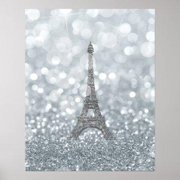 Art Themed Silver Glitter Sparkle Bling Eiffel Tower Glam Poster