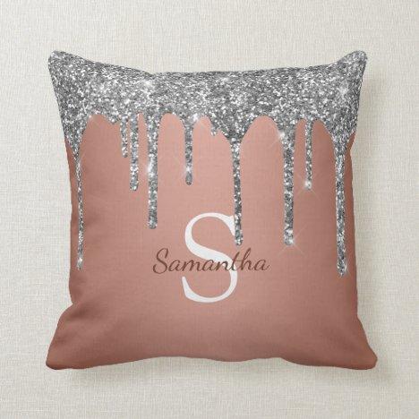 Silver Glitter Sparkle Drip Rose Gold Monogram Throw Pillow