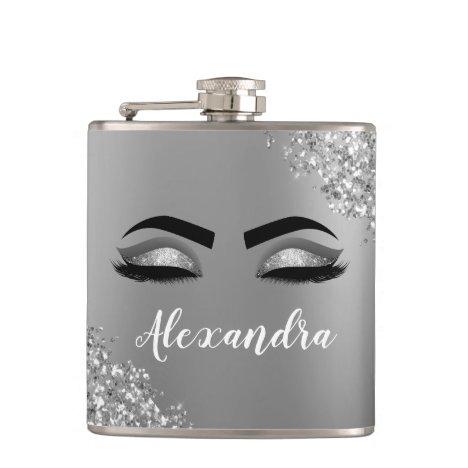 Silver Glitter Sparkle Eyelashes Monogram Name Flask
