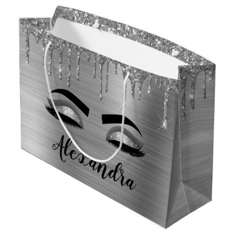 Silver Glitter Sparkle Eyelashes Monogram Name Large Gift Bag