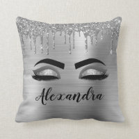 Silver Glitter Sparkle Eyelashes Monogram Name Throw Pillow
