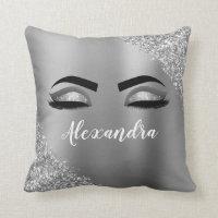 Silver Glitter Sparkle Eyelashes Monogram Name Throw Pillow