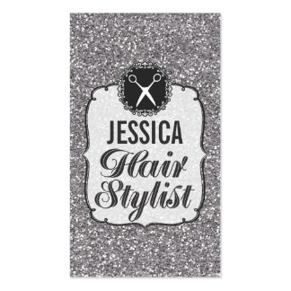 SILVER Glitter Sparkle Hair Stylist Appointment Business Cards