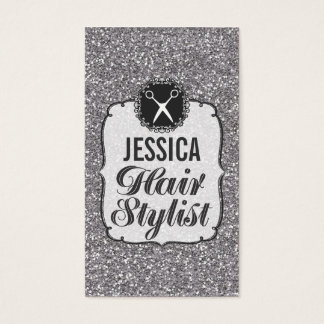 SILVER Glitter Sparkle Hair Stylist Appointment Business Card