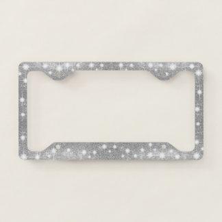 Silver Glitter Sparkle Metal Metallic Look License Plate Frame