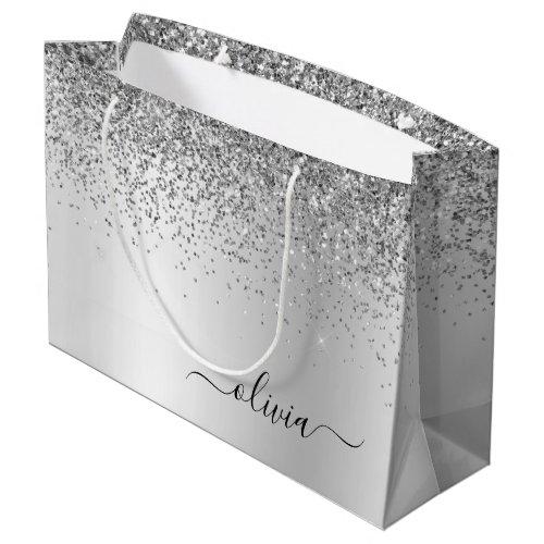 Silver Glitter Sparkle Metal Monogram Name Large Gift Bag