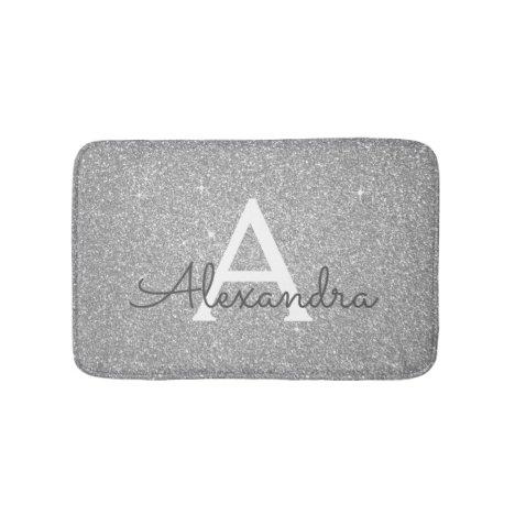Silver Glitter Sparkle Monogram Bath Mat