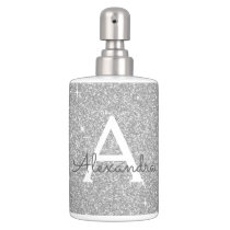 Silver Glitter & Sparkle Monogram Bath Set