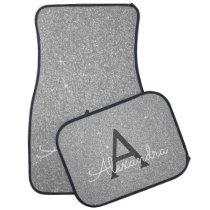 Silver Glitter Sparkle Monogram Car Mat