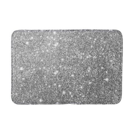 Silver Glitter Sparkles Bath Mat