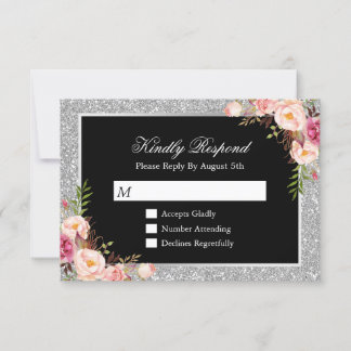Silver Glitter Sparkles Floral Wedding RSVP Reply