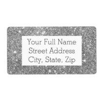Silver Glitter Sparkles Label
