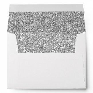 Silver Glitter Sparkles Pink Floral Wedding 5x7 Envelope