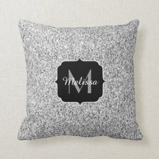Silver glitter sparkles PLdesign Monogram Throw Pillow