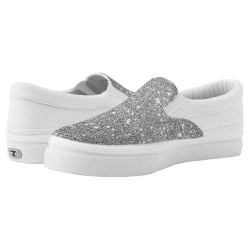 Silver Glitter Sparkles Slip-On Sneakers