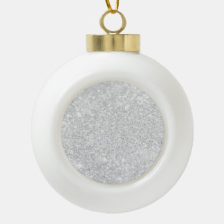 Silver Glitter Sparkley Ceramic Ball Christmas Ornament