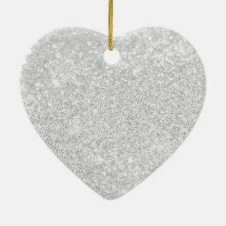 Silver Glitter Sparkley Ceramic Ornament