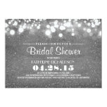silver glitter & string lights bridal shower 5x7 paper invitation card