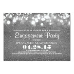 silver glitter & string lights engagement party 5x7 paper invitation card