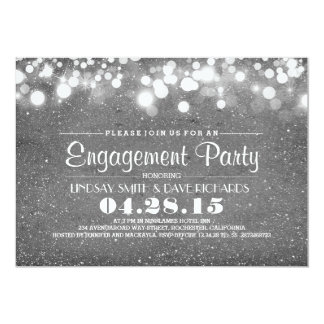 silver glitter & string lights engagement party card