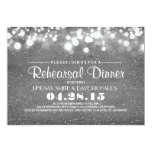 Silver glitter & string lights rehearsal dinner 5x7 paper invitation card