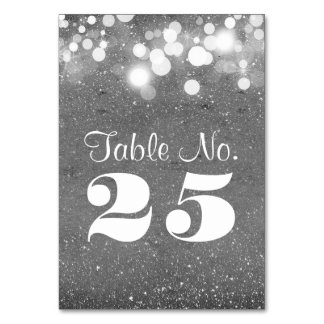 Silver glitter string lights table number cards table cards