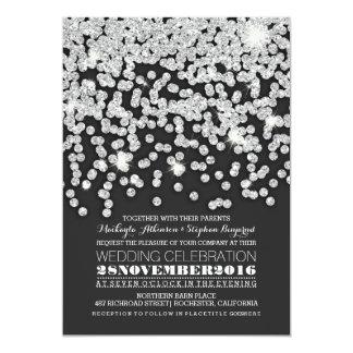 "silver glitter string lights wedding invitation 5"" x 7"" invitation card"