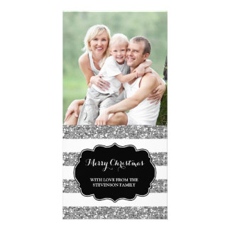 Silver Glitter Stripes Merry Christmas Photo Card