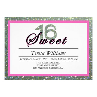 Silver Glitter Sweet 16 Birthday Party Invitation