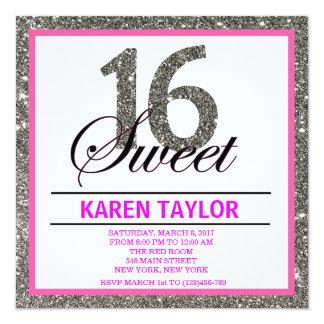 Silver Glitter Sweet 16 Custom Invitation