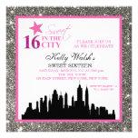 Silver Glitter Sweet 16 & The City Invitation Invitation