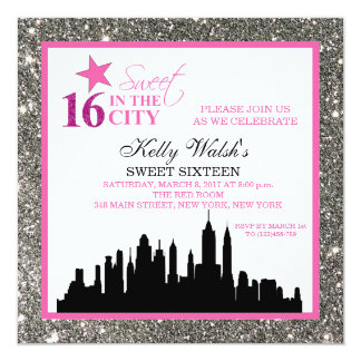 "Silver Glitter Sweet 16 & The City Invitation 5.25"" Square Invitation Card"