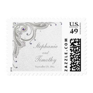 Silver glitter swirl + purple jewel wedding stamps