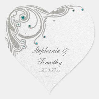 Silver glitter swirls + aqua jewel wedding sticker