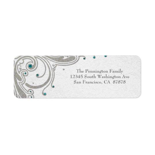 Silver glitter swirls + aqua jewels address label