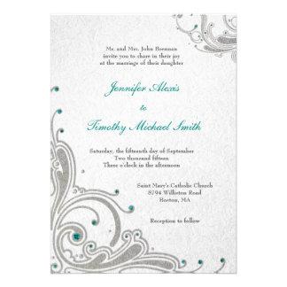 Silver glitter swirls + aqua jewels wedding invite