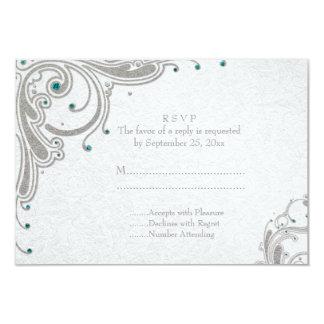 Silver glitter swirls + aqua jewels wedding RSVP Card