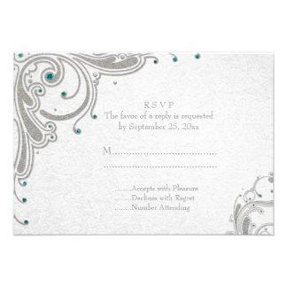 Silver glitter swirls + aqua jewels wedding RSVP Custom Invite