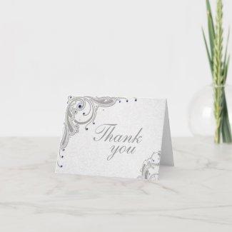 Silver glitter swirls + blue jewels thank you card card