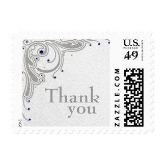 Silver glitter swirls + blue jewels thanks stamps